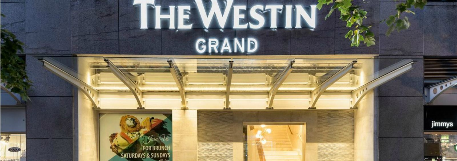 Robson Street entrance for The Westin Grand, Vancouver hotel